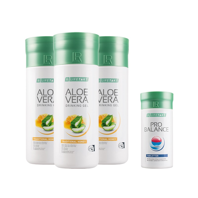 LR Aloe Vera Drinking Gel Traditional s medem 3 x 1000 ml a ProBalance Tablety
